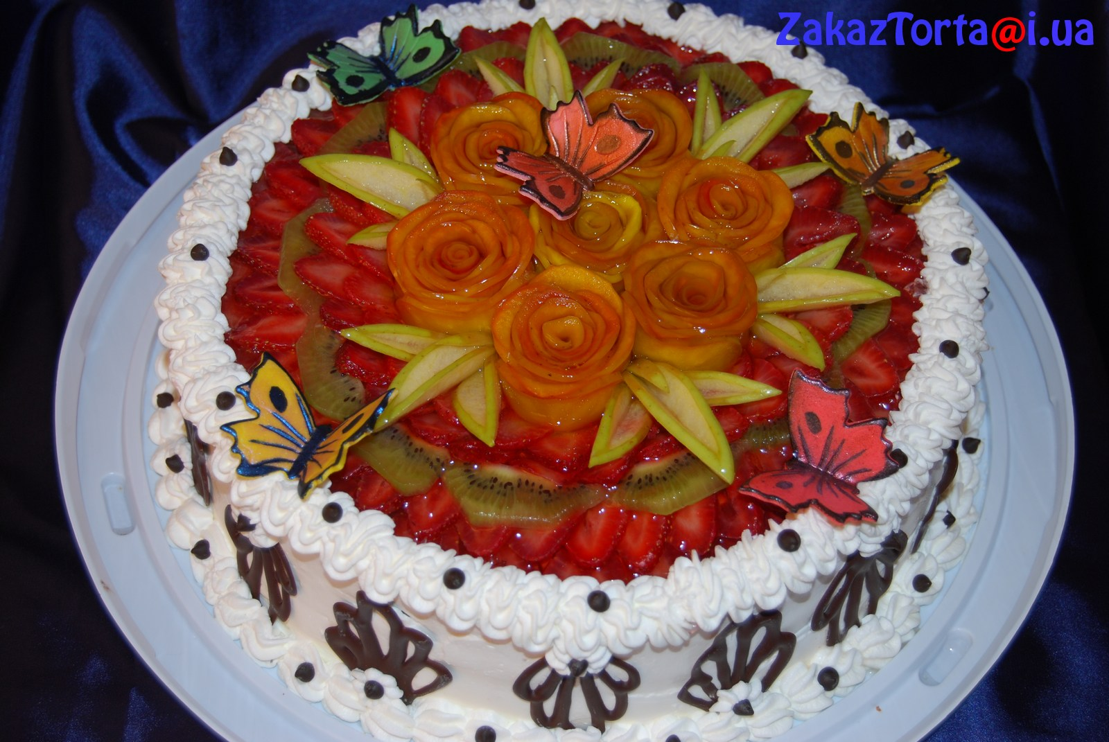 Украсить торт фруктами и желе фото пошагово