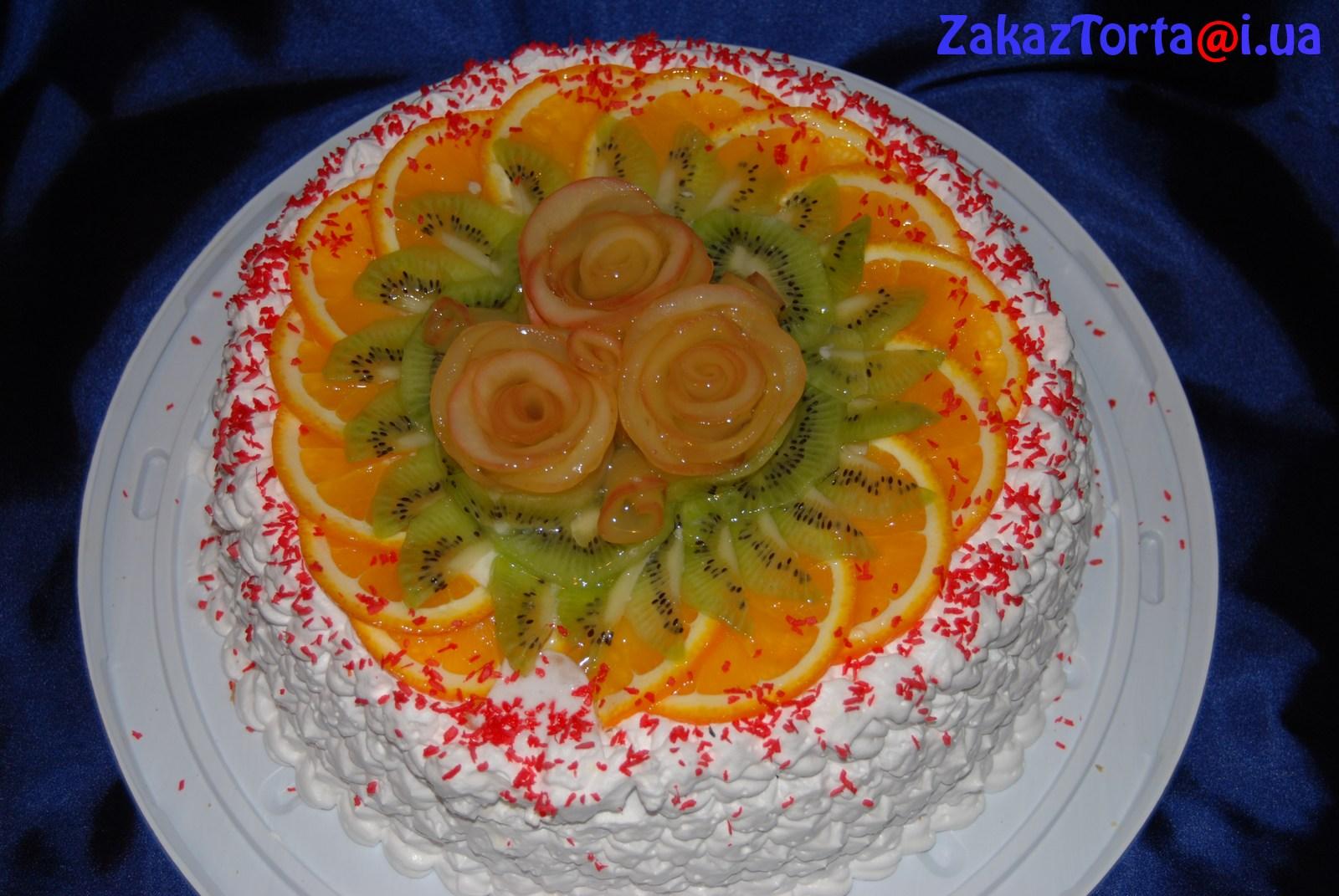 Торт творожно бисквитный с желе и фруктами рецепт 2