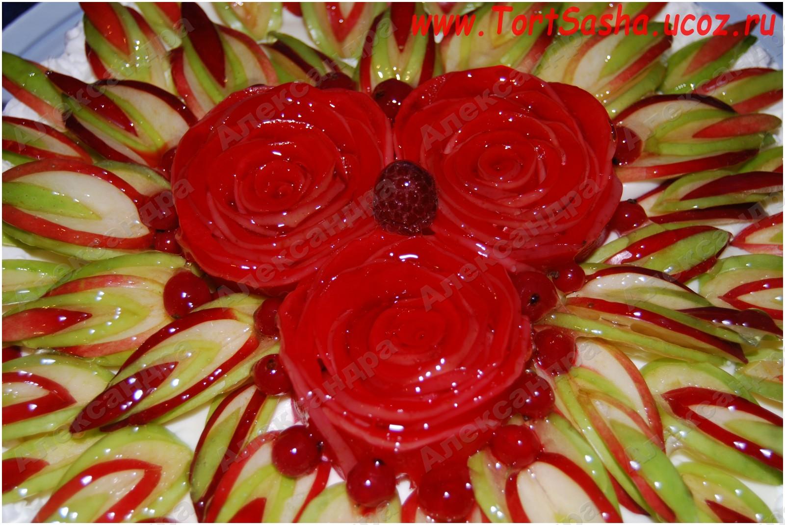 Как сделать розочки из фруктов на торт пошаговое