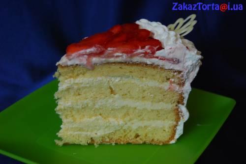Бисквитный торт с белым кремом