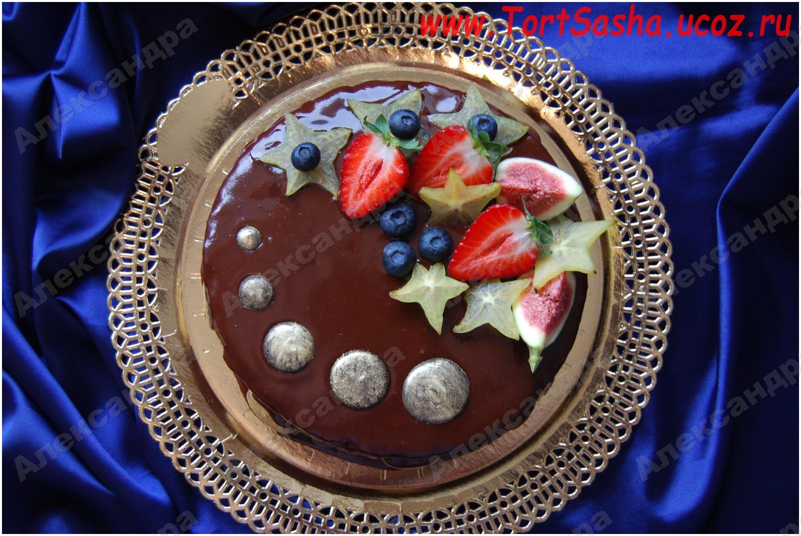 Украшение шоколадного торта фруктами фото